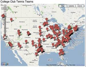 College Club Tennis Teams Map (300)